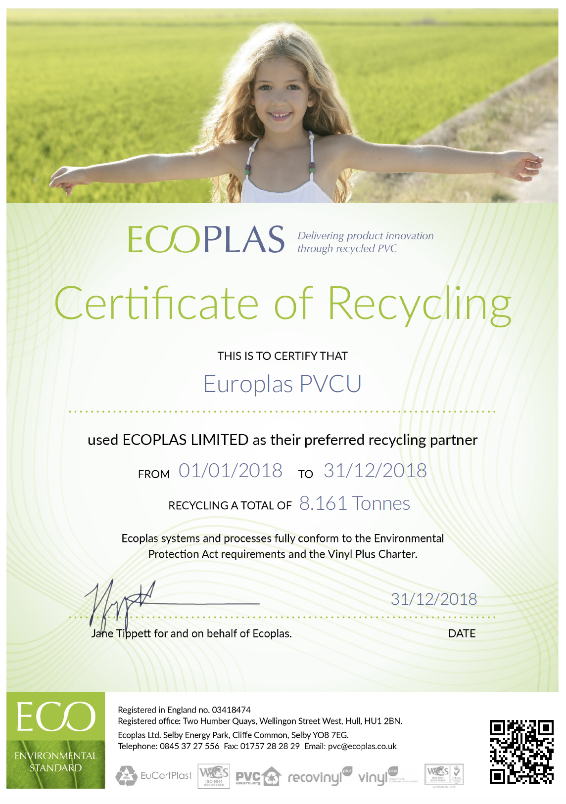 2018 Recycling Certificate